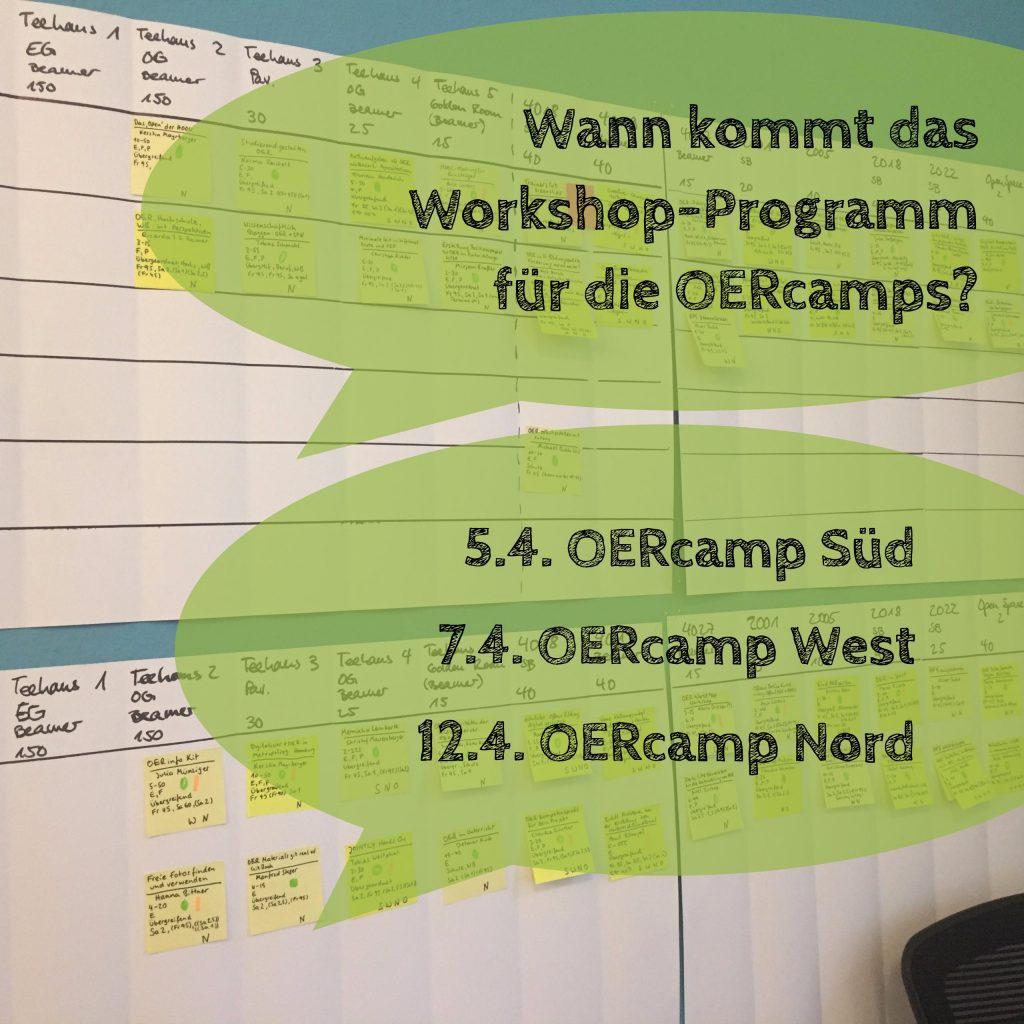 Wann kommt das Workshop-Programm für die OERcamps?
