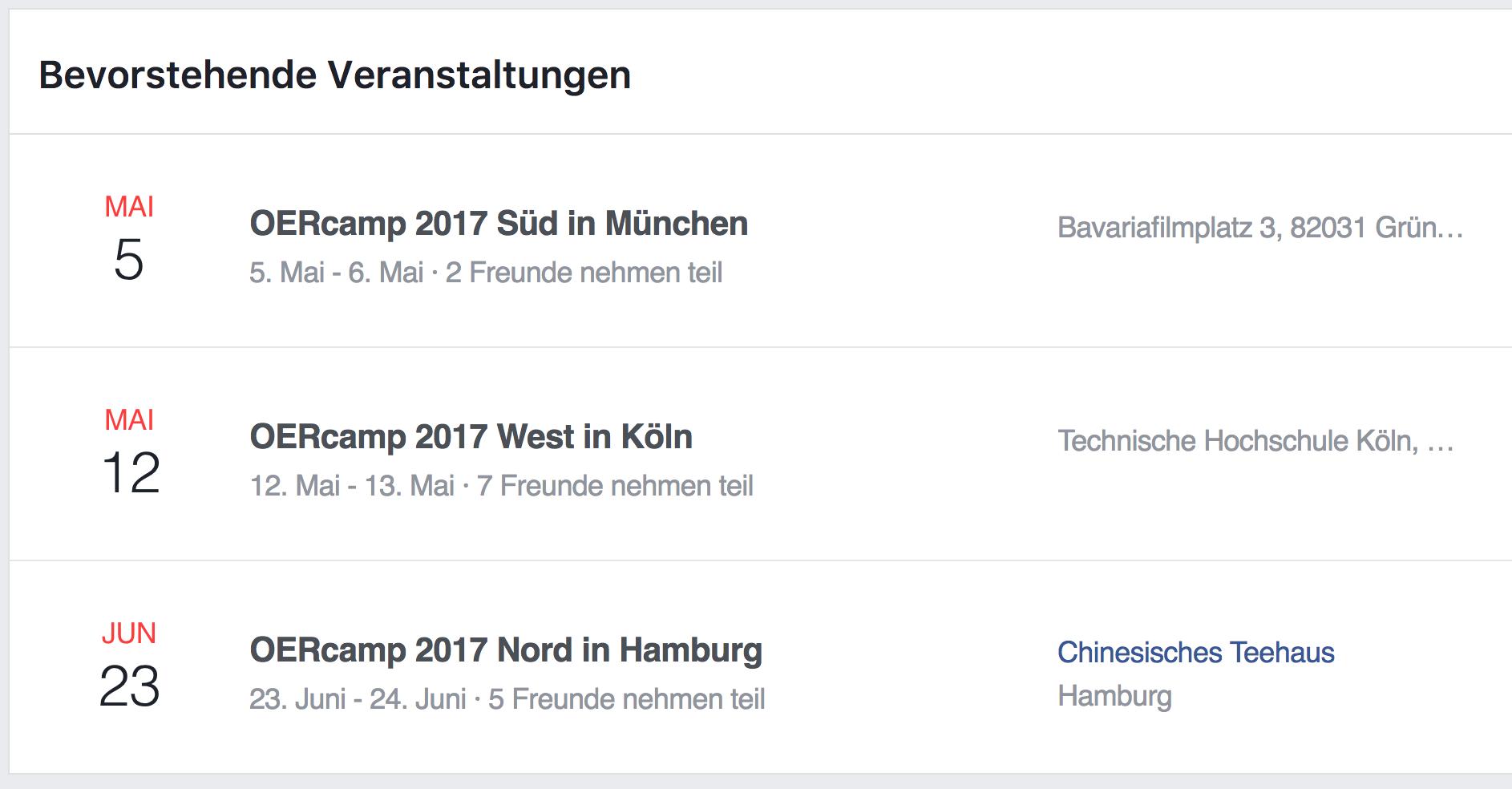 Screenshot der Übersichtsseite zu drei Events bei Facebook